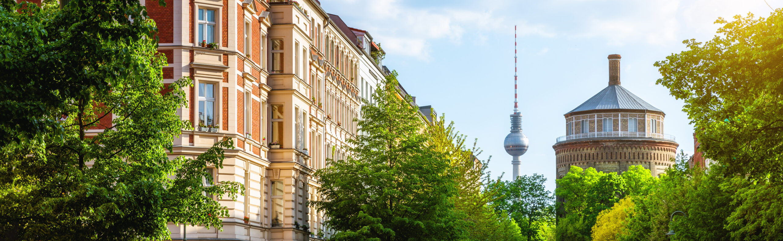 Berlin Prenzlauer Berg with TV Tower and old water tower